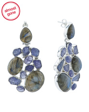 Made In India Labradorite And Rough Tanzanite Earrings