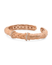 14k Rose Gold Plated Sterling Silver Cz Woven Cuff Bracelet