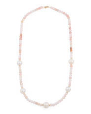 Made In Usa 14k Gold Pink Opal And Pearl Rondelle Necklace