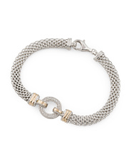Made In Mexico 14k Gold And Sterling Silver Cz Circle Bracelet