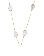 Made In Usa 14k Gold Mother Of Pearl Station Necklace