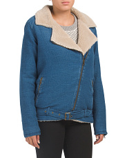 Faux Shearling Denim Moto Jacket