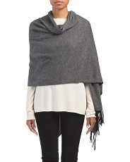 Cashmere Wrap With Contrast Fringe
