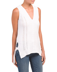V-neck Sweater Tank With Side Tabs