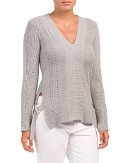 V Neck Sweater With Side Tabs