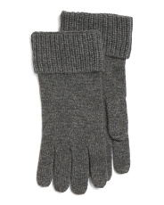 Ribbed Cuff Cashmere Gloves