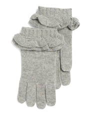 Double Ruffle Cashmere Gloves