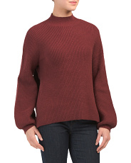 Juniors Mock Neck Balloon Sleeve Sweater