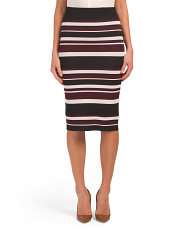 Horizontal Stripe Midi Skirt