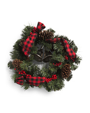 24in Pinecone Berry Ribbon Wreath