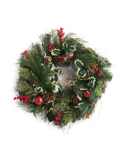 30in Merry Christmas Pinecone Berry Ball Wreath