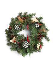30in Pinecone Berry & Ribbon Balls Xmas Tree Wreath