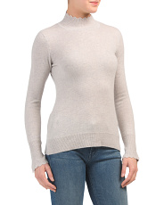 Cashmere Scallop Mock Sweater