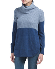 Cowl Neck Color Block Cashmere Sweater