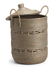 Large Lidded Beaded Seagrass Storage Hamper
