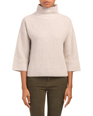 Textured Mock Neck Cashmere Sweater