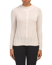 Cashmere Mock Neck Cable Knit Sweater
