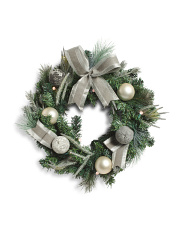 26in Grey Sweater Ball Wreath