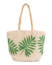 Herringbone Leaves Beach Tote