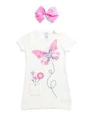 Toddler Girls Butterfly Sweater Dress With Bow