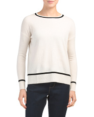 Tipped Cashmere Pullover Sweater