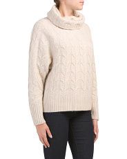 Cable Knit Turtleneck Cashmere Sweater
