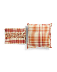 Plaid Throw & Pillow Set