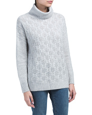 Cabled Front Cashmere Sweater