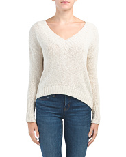 Juniors Deep V-neck Preppy Sweater