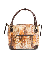 Made In Italy Croc Embossed Leather Hobo