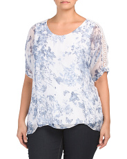 Plus Made In Italy Silk Overlay Toile Top