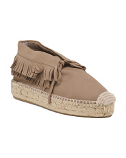 Made In Spain Suede Lace Up Espadrilles