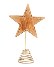 Wooden Star Tree Topper With Metal Frame