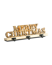 Made In India 19in Natural Wooden Merry Christmas Stocking Holder