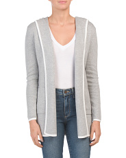 Contrast Tipping Hooded Cardigan