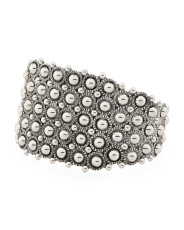 Handmade In Mexico Sterling Silver Dotted Cuff Bracelet