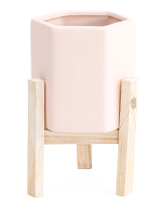 Hexagon Tall Ceramic Planter With Stand