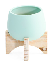 Round Ceramic Pot With Wood Stand