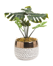 Faux Split Leaf Plant In Dotted Bowl