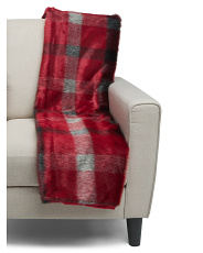 Faux Fur Plaid Throw