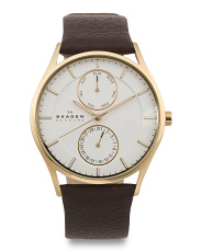 Men's Holst Multifunctional Leather Strap Watch
