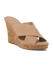 Cross Strap Wedge Slide Sandals