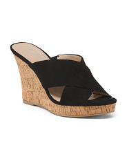 Cross Strap Cork Wedge Slide Sandals