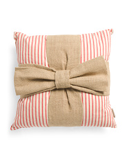 21x21 Burlap Bow Pillow
