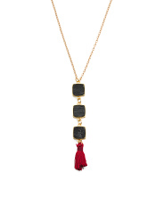 Made In Canada Natural Druzy Silk Tassel Goldtone Necklace