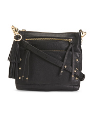 Pebbled Leather Studded Crossbody