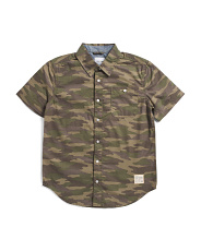 Big Boys Camo Short Sleeve Woven Shirt