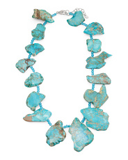 Sterling Silver Blue Jasper And Blue Quartz Slab Necklace