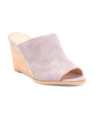 Stacked Wedge Peep Toe Suede Mules