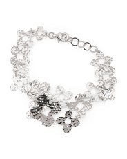 Made In Italy Sterling Silver Diamond Cut Flower Bracelet